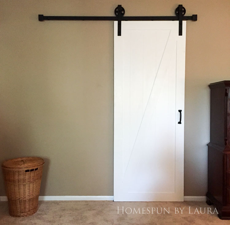 Master bedroom refresh | Homespun by Laura | The master bathroom: Before the barn door!