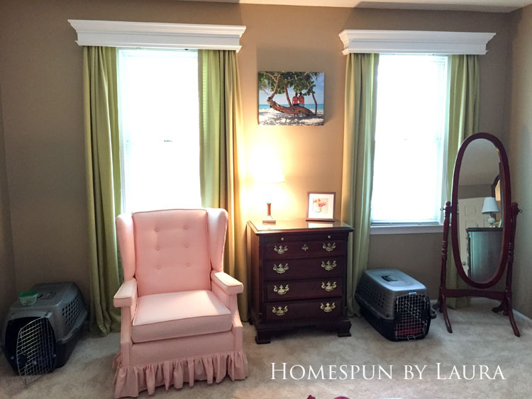 Master bedroom refresh: old French door headboard | Homespun by Laura | Pink wingback chair
