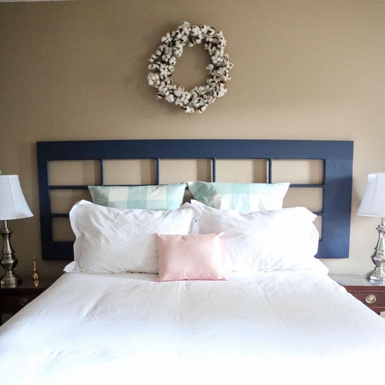 Master bedroom refresh: old French door headboard | Homespun by Laura | DIY French door headboard