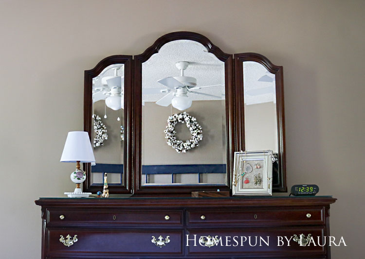Master bedroom refresh | Homespun by Laura | Dresser with three-way mirror above
