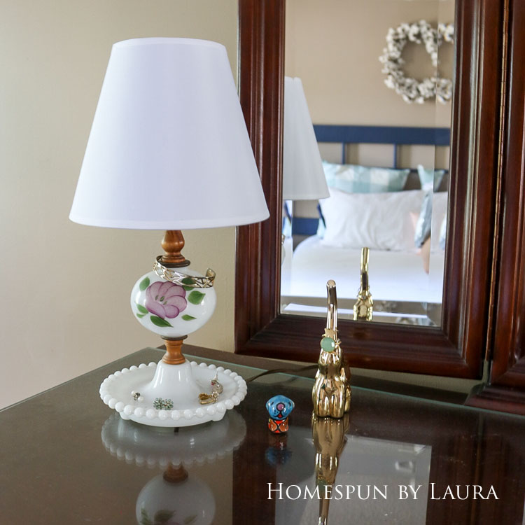 Master bedroom refresh | Homespun by Laura | Dresser with antique lamp and jewelry