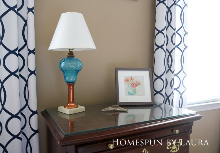 Master bedroom refresh | Homespun by Laura | Antique copper and depression glass lamp cleaned up with ketchup and Windex