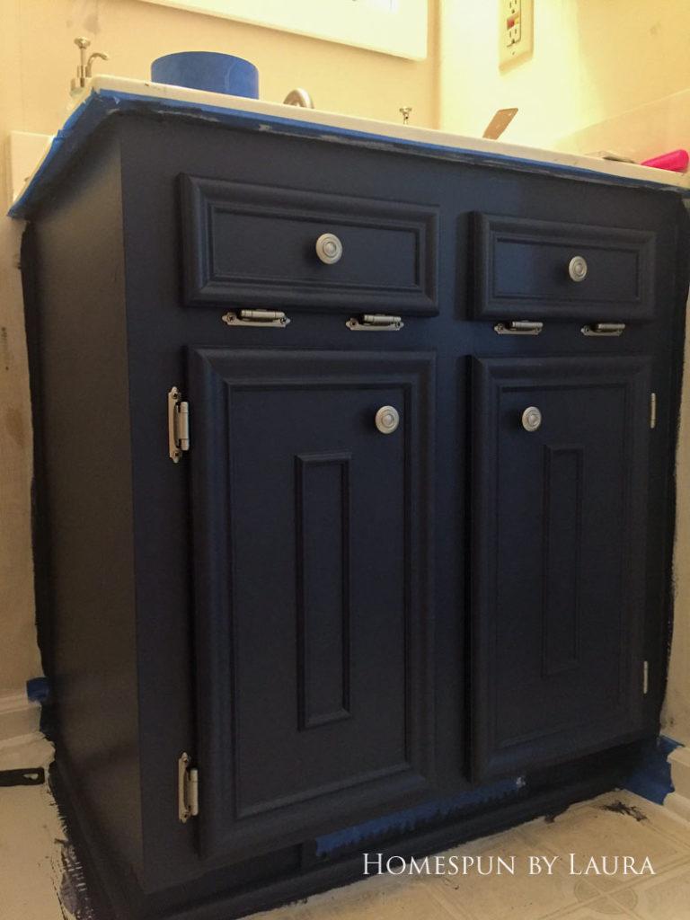 $75 DIY Powder Room (and Pantry!) Update: One Room Challenge Week 2   Homespun by Laura   DIY vanity update: Painting the cabinet