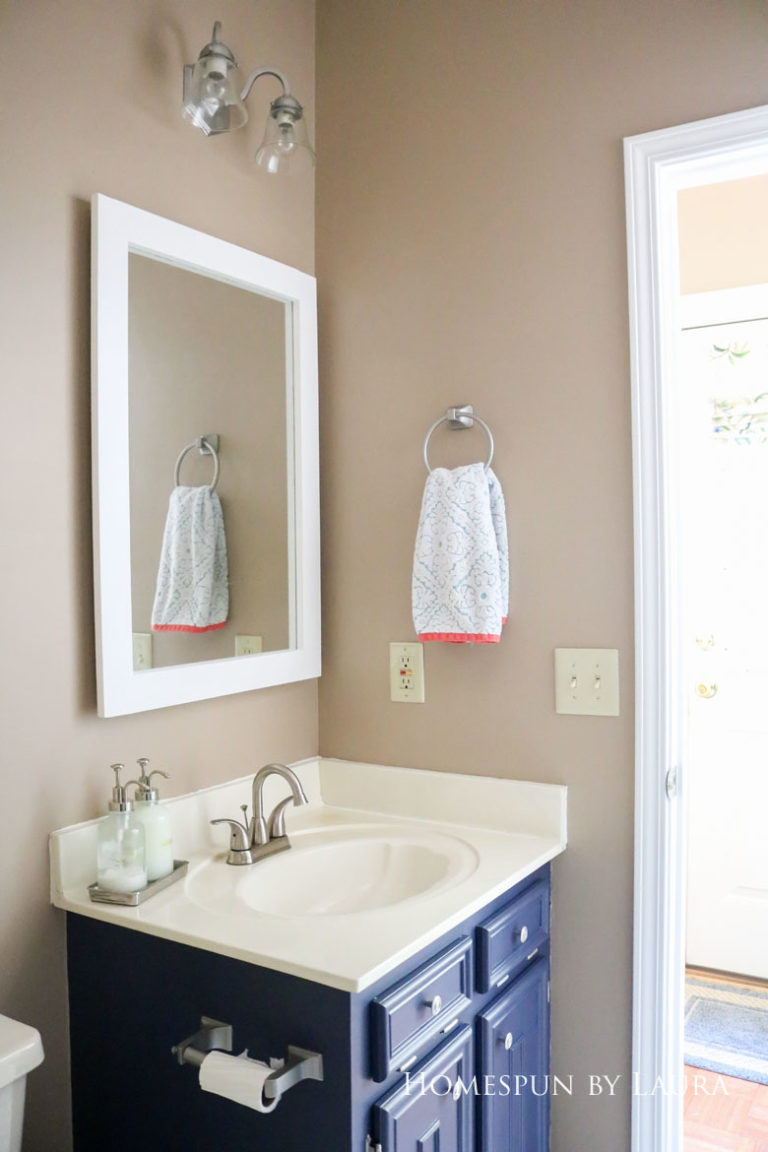 $75 DIY Powder Room (and Pantry!) Update: One Room Challenge Week 3   Homespun by Laura   Make a DIY framed mirror for under $15 in a few hours without any power tools!