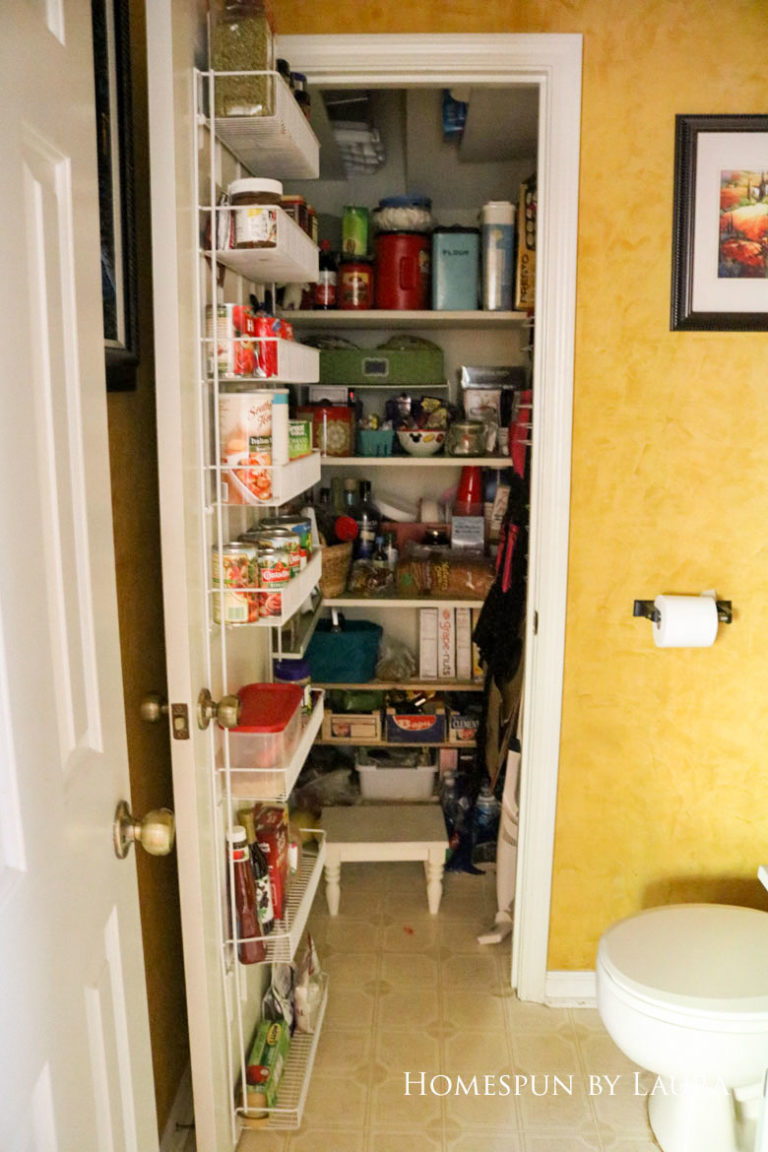$75 DIY Powder Room (and Pantry!) Update: One Room Challenge Week 1  Homespun by Laura   Disorganized pantry: The before