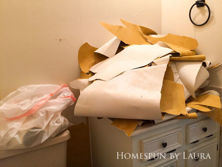 $75 DIY Powder Room (and Pantry!) Update: One Room Challenge Week 1  Homespun by Laura   Removing wallpaper in the outdated powder room