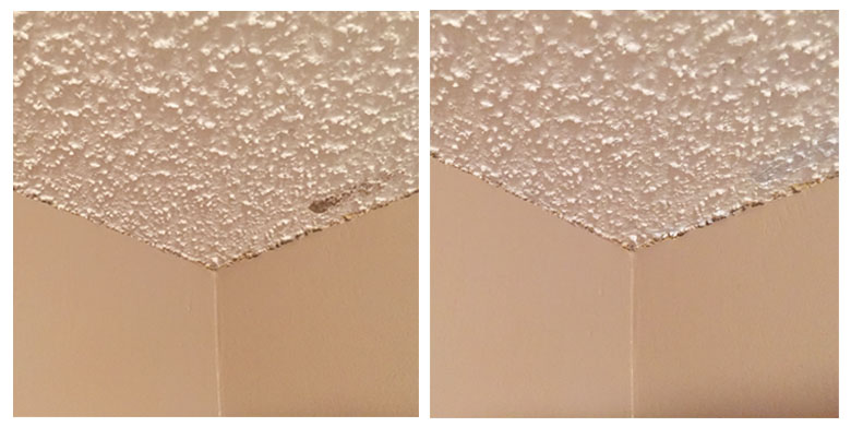 Touching up the popcorn ceilings   Homespun by Laura