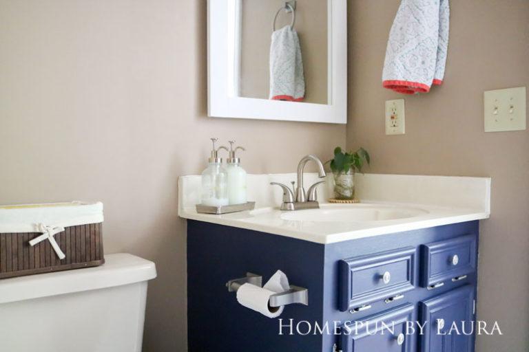 $75 DIY Powder Room (and Pantry!) Update: One Room Challenge Reveal   Homespun by Laura   Simple bathroom vanity decor