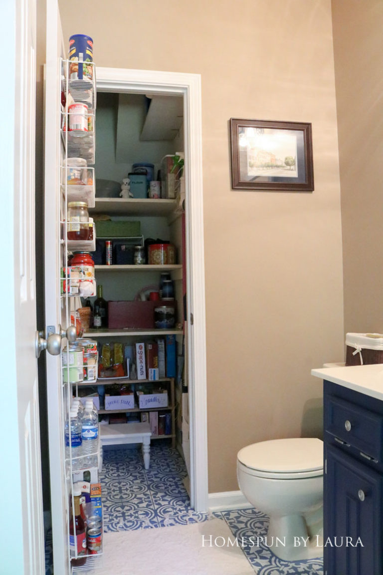 $75 DIY Powder Room (and Pantry!) Update: One Room Challenge Reveal   Homespun by Laura   Budget half bathroom makeover - simple pantry organization