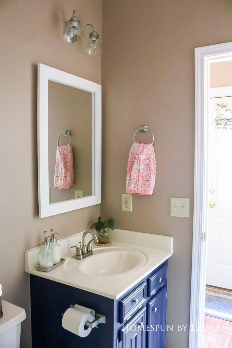 $75 DIY Powder Room (and Pantry!) Update: One Room Challenge Reveal   Homespun by Laura   Budget half bathroom makeover