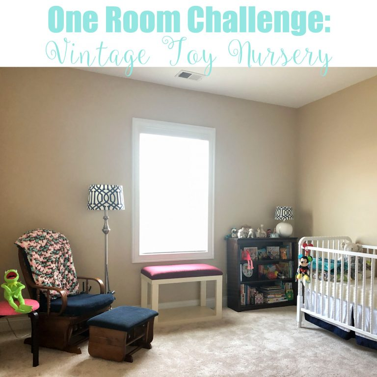Creating a gender neutral nursery using vintage toys and old children's books as inexpensive and easy decor over the course of six weeks.